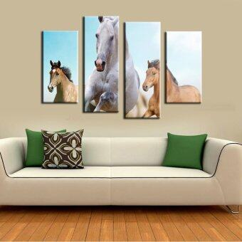 4 panel Running White Horse large HD print art canvas painting for modern wall picture (Intl)