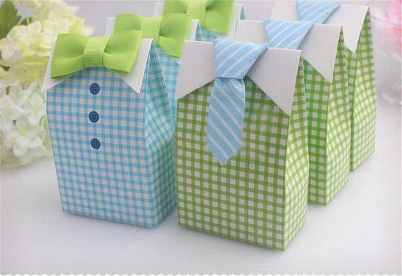 50pcs My Little Man Blue Green Bow Tie Birthday Boy Baby Shower Favor Candy Box for Wedd ...