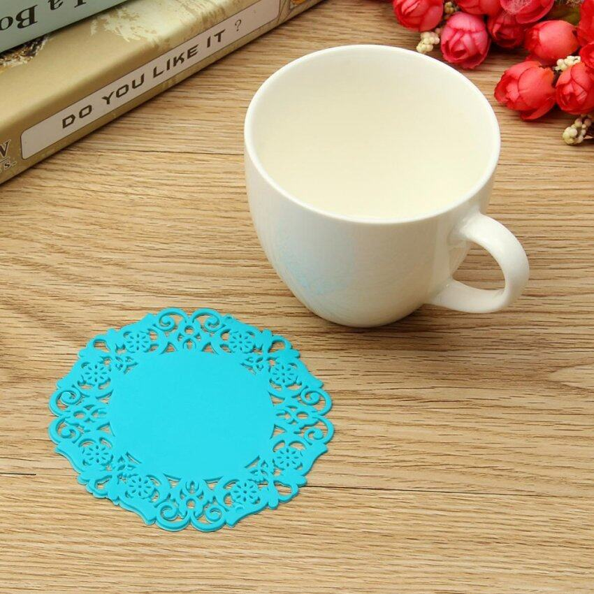 6 Pieces 2016 New Hot Beautiful Silicone Coasters Random 6 Pack Color Round Drink Coasters Lace Stain Resistant Placemat - intl