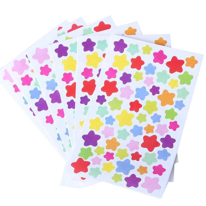 6 x Sheet Pentagram Star Shape Multi Colors Paper Stickers Diary Album Stickers - intl ...