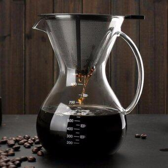 800ml Glass Coffee Pot Pour Over Manual Hand Drip Coffee Maker-Carafe Coffeemaker Pot with Stainless Steel Permanent Filter -intl