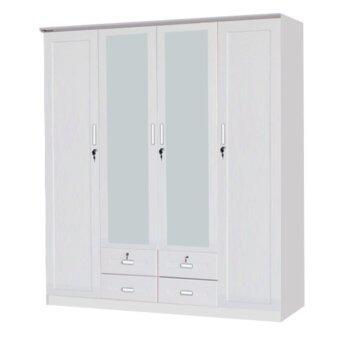 ADDHOME ตู้เสื้อผ้าบานเปิด 4 บาน ขนาด 180 ซม. รุ่น WR 1801 D สีขาว