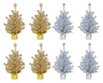 AllMerry Christmas ต้นคริสต์มาสคู่สีทอง+สีเงิน 1ฟุต ประดับปลายตุ้มทอง/เงิน (ชุด 8 ต้น)