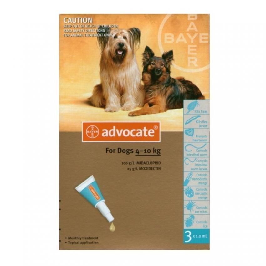 Bayer Advocate สำหรับสุนัขน้ำหนัก 4 - 10 กก X 3 หลอด (1กล่อง) สำหรับกำจัดเห็บหมัด (04902 ...