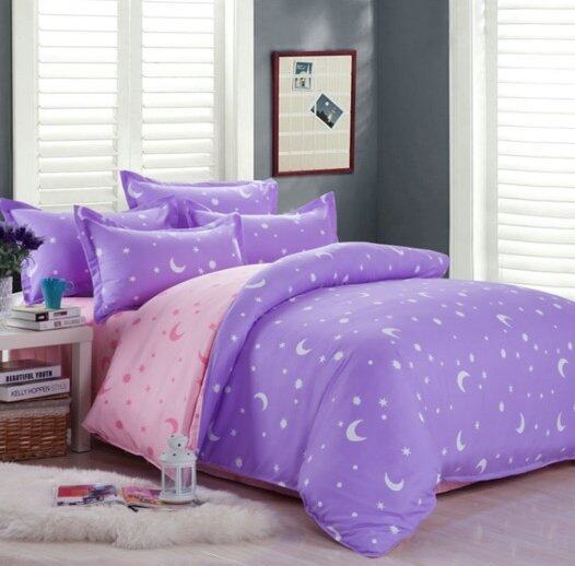 Bedding Cheap ผ้าปูที่นอน ชุดผ้านวม 6 ฟุต 6 ชิ้น ลายดาว 006