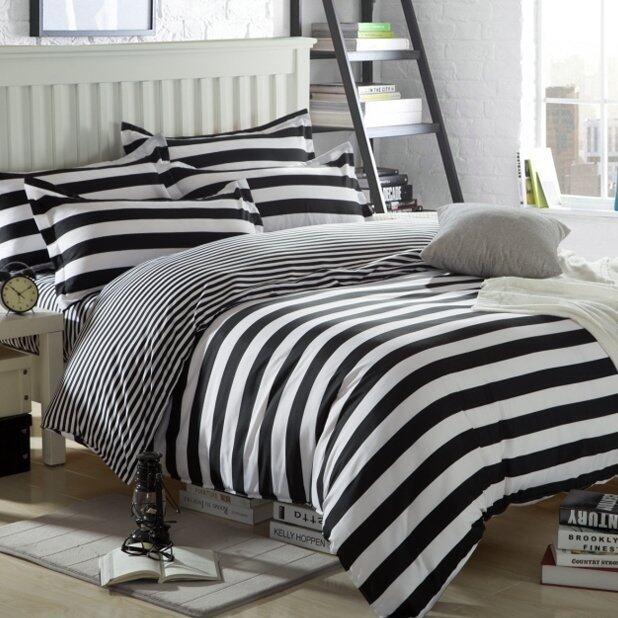 Bedding Cheap ผ้าปูที่นอน ชุดผ้านวม 6 ฟุต 6 ชิ้น ลายขาวดำ 001