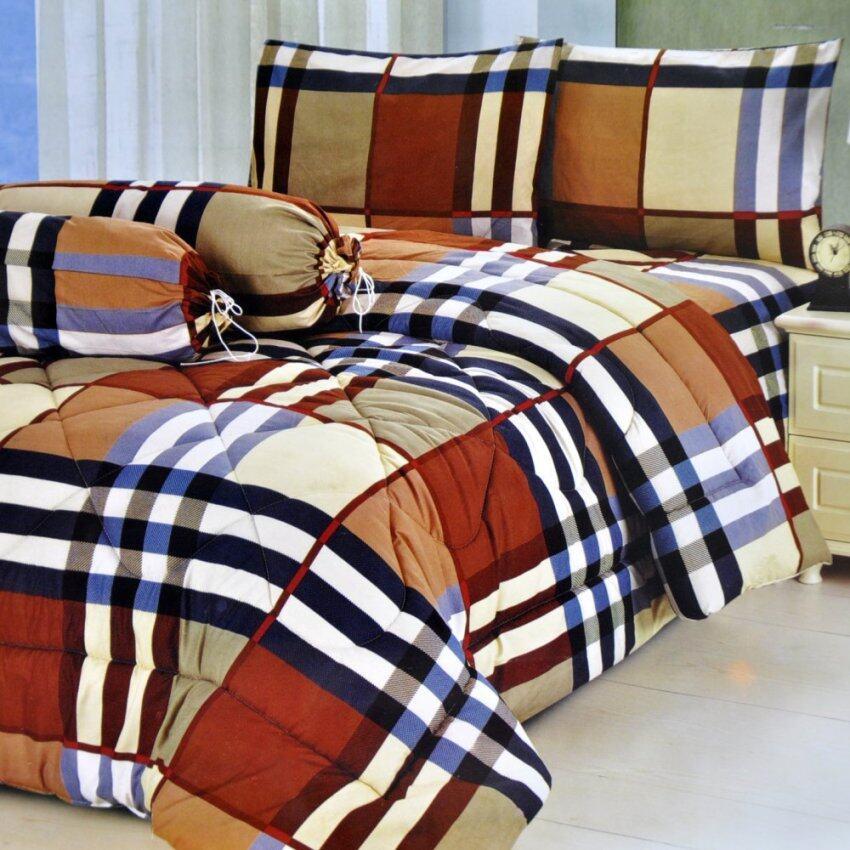 Bedding Cheap ผ้าปูที่นอน ชุดผ้านวม เกรด A 6 ฟุต 6 ชิ้น - ลายสก๊อต005