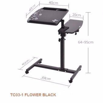 BH โต๊ะวางโน๊ตบุ๊ค Labtop ขนาด 60 ซม. ปรับระดับได้ ลายดอกไม้ดำ