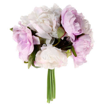 Black Horse 10 Heads Peony Flowers Home Party Wedding Bouquet Decoration Flowers (white+purple)
