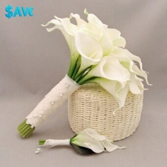 Black Horse 10 x White Artificial Latex Calla Lily Flowers Bouquet Garden Home Wedding Decor