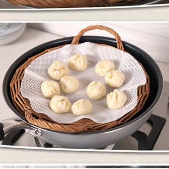 Black Horse 25cm Echo-friendly silicone Steamer Pad Dumplings Mat Stuffed Bun Pad 1PC New-white - intl