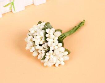 Black Horse Artificial Berry Foam Flower Wedding Bridal Party Decor Home Decor DIY Flowers (White)