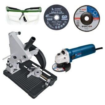 BOSCHเครื่องเจียร4นิ้วgws060 +แท่นจับเครื่องเจียร์+แว่นตากันสะเก็ด+ใบตัด4