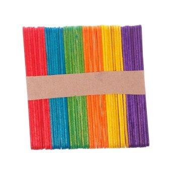 BUYINCOINS 50pcs Colored Wooden Popsicle Kids Make Ice Cream Hand Crafts Art Lolly Cake
