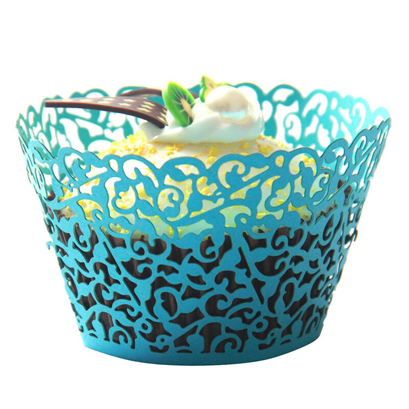 Buytra Lace Cupcake Wrapper Liner Baking Cup Laser Cut ( Blue )