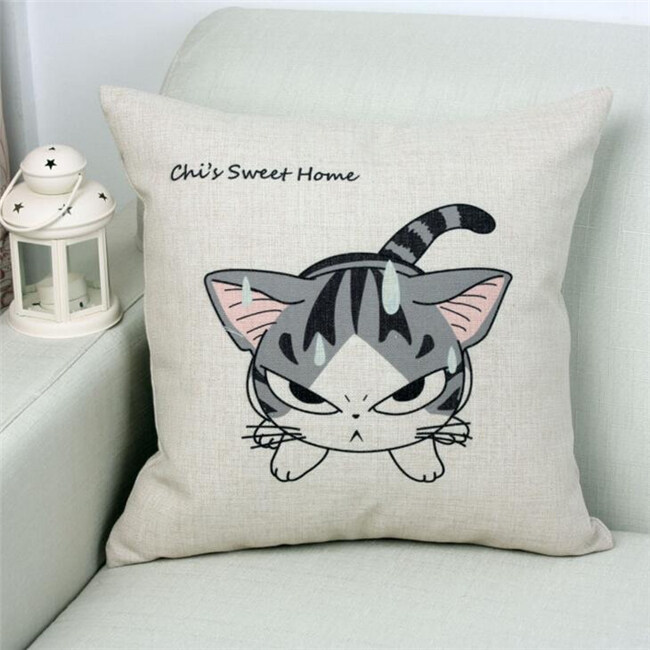 Cartoon Cheese Cat Printed Linen Throw Pillow Home Kids Room Decorative Cushion(Multicol ...