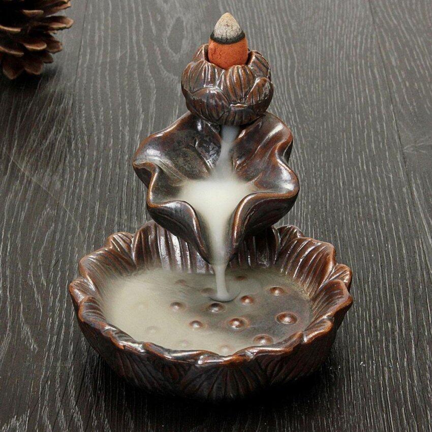 Ceramic Diffuser Backflow Flower Ceramic Cone Incense Burner Holder - intl