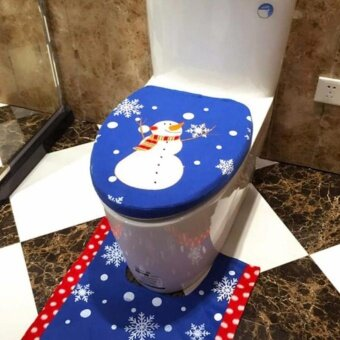 Christmas Decoration Christmas Snowman Lid Single Toilet Cover -intl