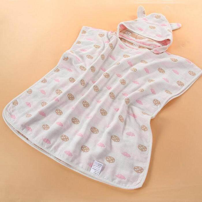 Cotton Baby Hooded Bathrobes Infant Bath Towel Bathing Robe for Kids Baby Bathrobe Pajamas Beach Gown Gifts 65x60cm(Blue) - intl
