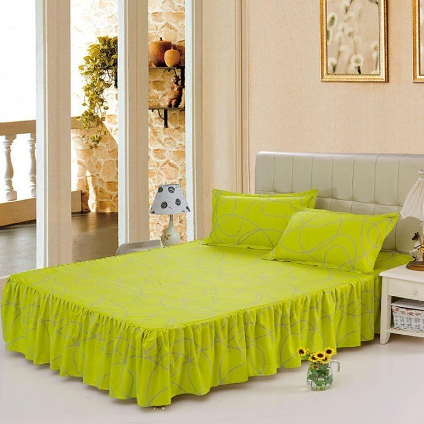 Cotton Soft Bed Skirt Bedsheet Bedclothes High Quality -32# Green - intl