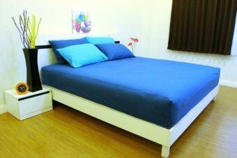 Cotton Soft ชุดผ้าปูที่นอน - รุ่น sea blue base soft 5 ฟุต 5 ชิ้น