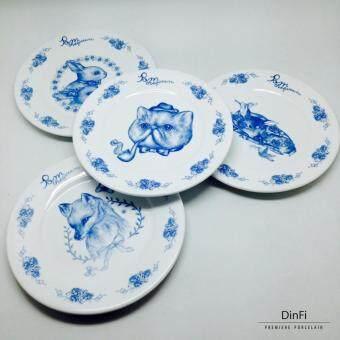 DinFi Premiere Porcelain ชุดจานเซรามิก สกรีนลาย Pom the Queen Side Plate SET 4 ชิ้น
