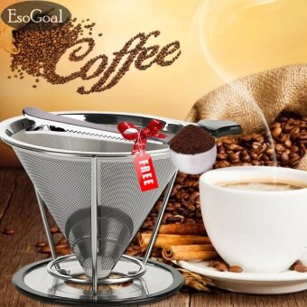 EsoGoal Pour Over Coffee Filter,Stainless Steel Reusable DoubleMesh Paperless Coffee Dripper w/ Bonus Coffee Scoop & Bag Clip- intl