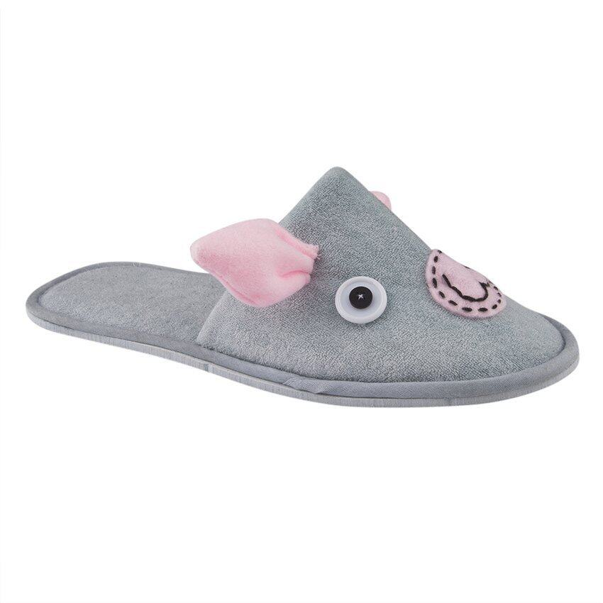 Esupersave รองเท้าสลิปเปอร์ Piggy สีเทา-ชมพู ฟรีไซส์