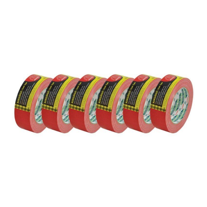 เทปกาวเเบบผ้า KIKUSUI เทปกาวแบบผ้า หน้ากว้าง 1.5 นิ้ว ยาว 25 หลา - สีแดง (6 ชิ้น)