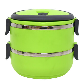 GALAXY Lunch Box ปิ่นโตสูญญากาศ ทรงกลม 2 ชั้น 1.4 ลิตร (สีเขียว)