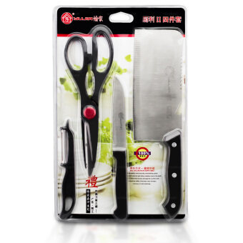 GetZhop ชุดมีดสแตนเลส มีดเอนกประสงค์ อุปกรณ์ทำอาหาร Knife Set 4 ชิ้น (Silver/Black)