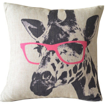 Giraffe Throw Pillow Cove (Black/Pink)