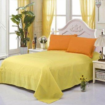 GoGoLife All Size Sanding Cotton Solid Color Bed Sheet(Flat SheetStyle)-1# Yellow