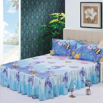 GoGoLife Soft Cotton Bed Skirt Bedsheets Bed Cover-28# Sea World