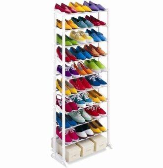 Hakone ชั้นวางรองเท้า ที่วางรองเท้า 10 ชั้น 30 คู่ ถอดประกอบได้ (สีขาว)