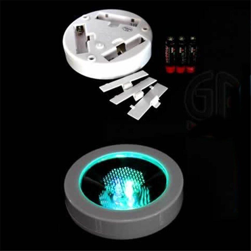 HL Round Shape Led Light Up Coasters Light Flash Cupmat - Whiteshell + Colorful Light - intl
