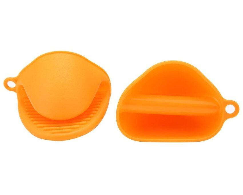 huiying Heat Resistant Silicone Pot Holder Potholder Oven Mini Mitt Gloves Cooking Pinch Grips Mitts 1 Pair (2pcs),Orange - intl