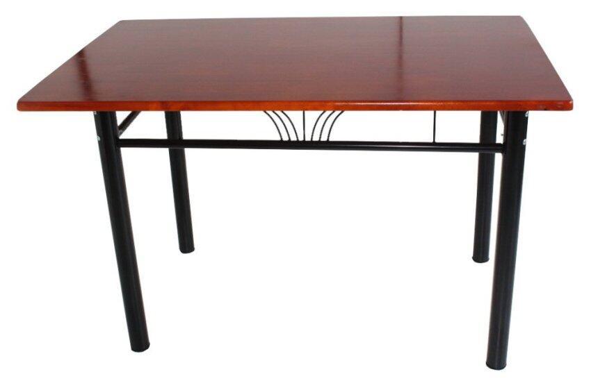 Inter Steel โต๊ะทานข้าว ท็อปสี่เหลี่ยม รุ่น 75x120-TW (ขาสีดำ/ท้อปไม้ยางพารา สีเชอร์รี่)