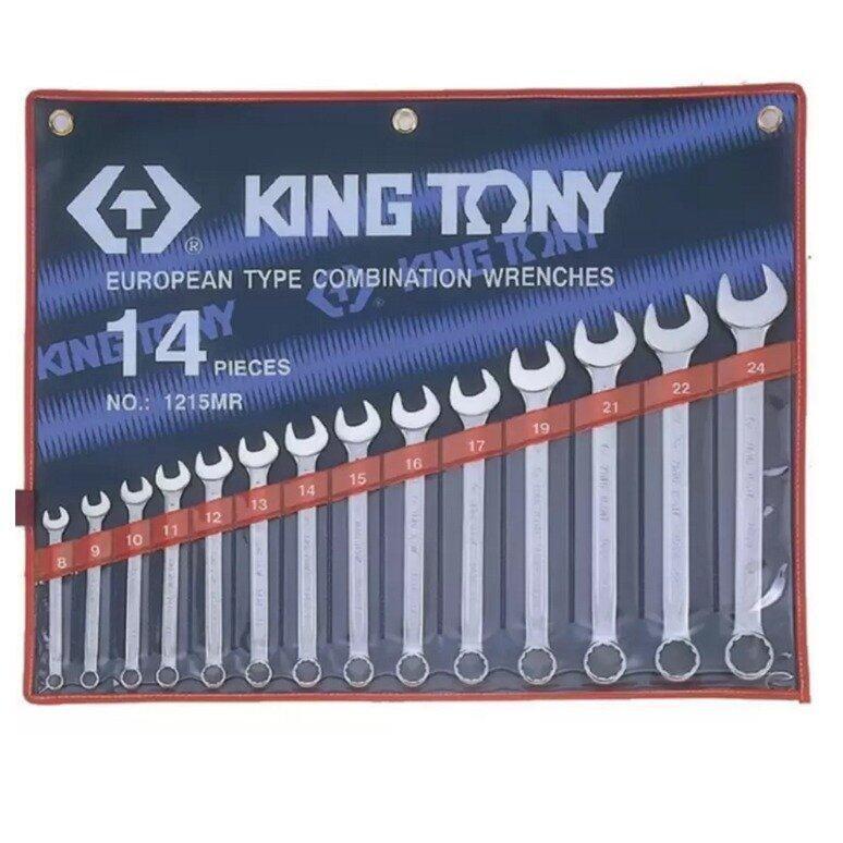 KingTony เครื่องมือช่าง ประแจแหวนข้างปากตาย ชุด 14 ชิ้น ขนาด 8 - 24 มม. รุ่น 1215MR