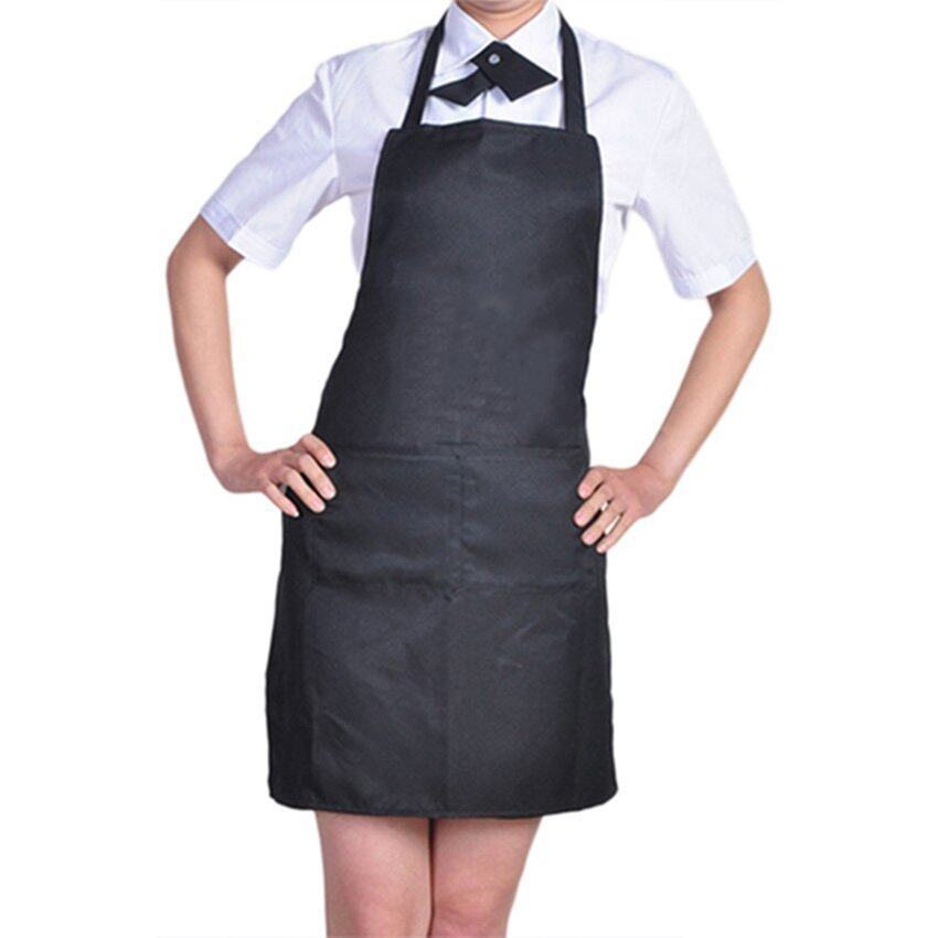 Kitchen Cooking Chefs Apron with Front Pocket (Black)