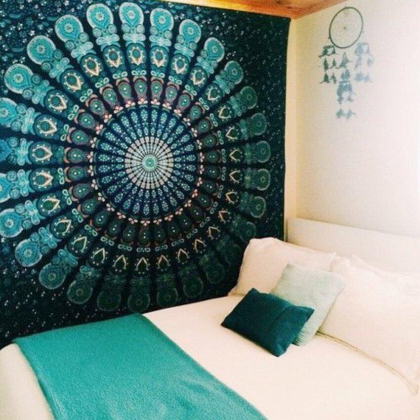 MC Indian Mandala Tapestry Hippie Wall Hanging Blue Bohemian Bedspread Home Decor (Green ...