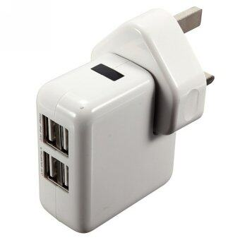Moonar Portable 4 Port USB Charger UK Plug LED Travel Wall Charger for Mobile Phones and Tablets