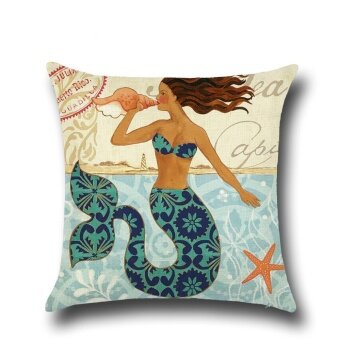 Mordern Mermaid Pattern Printed Linen Pillowcases Home Decor CarSofa Cushion Covers - intl