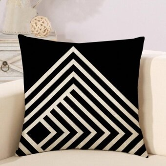 Mordern Simple Geometric Pattern Printed Linen Pillowcases HomeDecor Car Sofa Cushion Covers - intl