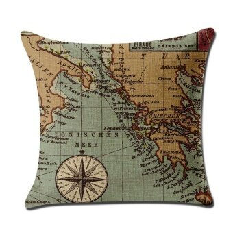 Mordern World Map Pattern Printed Linen Pillowcases Home Decor CarSofa Cushion Covers - intl