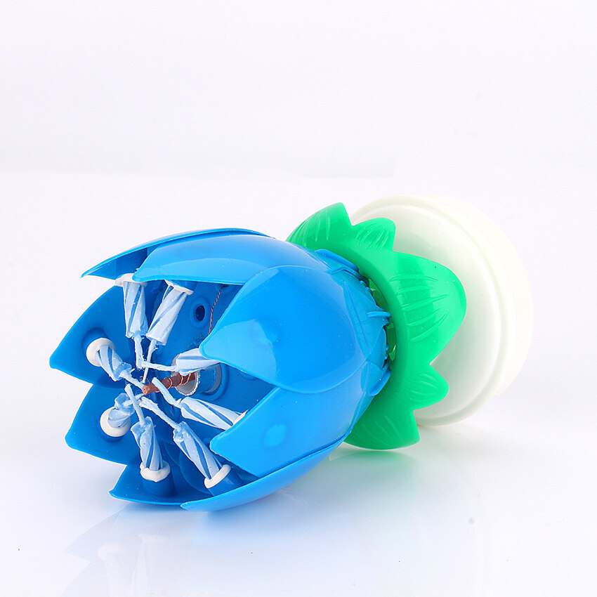 Musical Rotating Round Double Lotus Music Flower Birthday Candle (Blue) 2Pcs ...