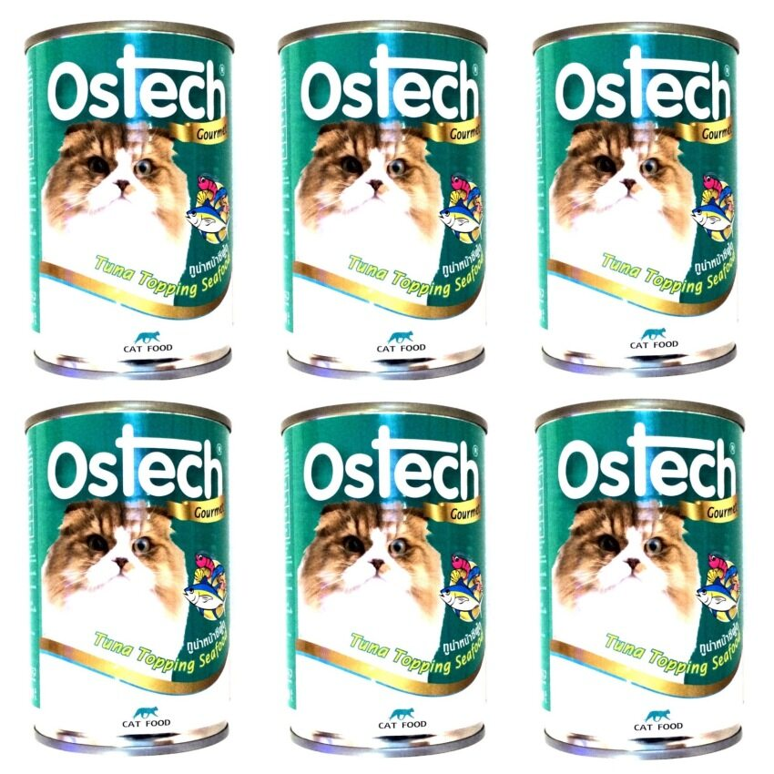 Ostech Gourmet Tuna Topping Seafood For Cat อาหารแมว Ostech ทูน่าหน้าซีฟู้ด 400 ml. 6 canned (8855648006516-6)