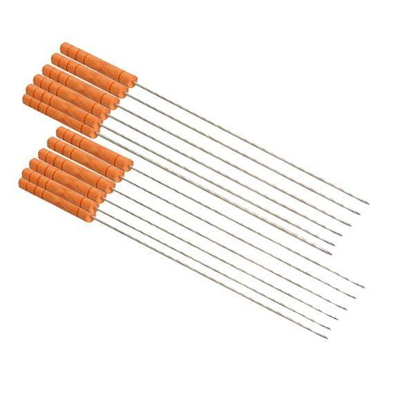 Outdoor Barbeque Skewers Needle Set with Wood Handle BBQ Kebab Stick