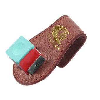 Pool Billiards Snooker Leather Belt Clip Chalk Holder Red-brown - intl