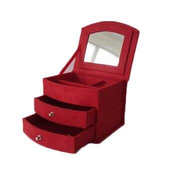 กล่องใส่เครื่องประดับ ผ้ากำมะหยี่ ขนาดใหญ่ (สีแดง)
